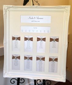 Ornate vintage frame wedding seating plan