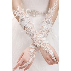 Off White Crochet Lace Rhinestone Long Gloves (42 BRL) ❤ liked on Polyvore featuring accessories and gloves