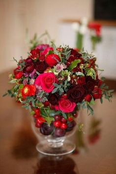 Winter Floral Arrangement in red and green