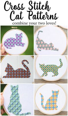 Combine your love of cats and cross stitch with these fun, easy and beautiful cross stitch patterns!  Click through for details on how to get all 10 Cat Cross Stitch Patterns.