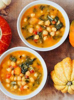 Garbanzos con acelgas y calabaza - Healthy Eating İdeas For Exercise Pumpkin Recipes, Veggie Recipes, Mexican Food Recipes, Real Food Recipes, Soup Recipes, Vegetarian Recipes, Cooking Recipes, Yummy Food, Healthy Recipes
