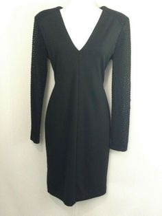 0baf2ea5a3c6d Gianni Bini Black Fitted Sheath Dress Size M Long Lace Sleeves Lined  #GianniBini #SheathDress