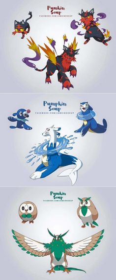 Pretty incredible Alola starter evolution designs. What do you guys think? (Work by Pumpkin Soup)