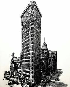 Awesome #penandink #architecture #rendering by Jesse Smith (@jessespencersmith) of the #Flatiron #Building in #NewYorkCity.  Love the #composition of this #illustration. Cool choice to include a few #buildings on the opposite #streets of to provide the #urban/#cityscape context while still highlighting the architectural #aesthetic of the #iconic Flatiron. Great work capturing the #details on this #NYC #landmark and it's cool to see some #trucks cars people and the general busyness of city…