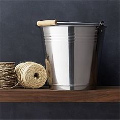 Stainless Steel Bucket with Wood Handle I Crate and Barrel
