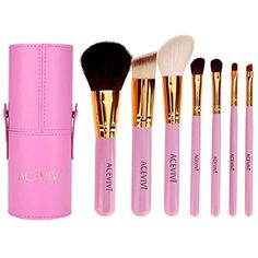 ACEVIVI 7 Piece Premium Kabuki Makeup and Face Powder Foundation Eye Cosmetic Brush Set with Cylinder, Pink -- Want additional info? Click on the image. (This is an affiliate link) #MakeupBrushSetsKits