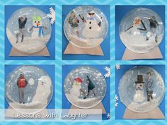 Need to use plastic plates like this teacher :-) Lessons with Laughter: Snow Globes!