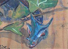 Lierre , détail , aquarelle sur bois  et il a vraiment une bonne tête . Dragons, Moose Art, Painting, Animals, Ivy, Watercolor Painting, Woodwind Instrument, Animales, Animaux