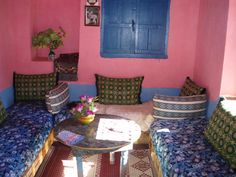 In the living room of a house in a Berber village
