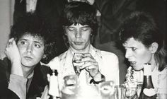 Lou Reed, Mick Jagger, David Bowie, July 4 1973 at London's Café Royal, the night after Ziggy's last show, by Mick Rock.