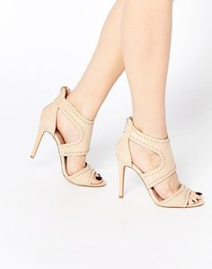 Liberty Nude Studded Caged Heeled Sandals