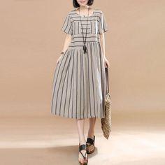 Women Stripe Slim Casual Loose Short Sleeve Khaki Dress