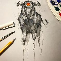 Stunning works by psdelux Shared by Veri Apriyatno Artist . Animal Sketches, Animal Drawings, Drawing Sketches, Bull Tattoos, Taurus Tattoos, Tattoo Drawings, Art Drawings, Bull Painting, Petit Tattoo