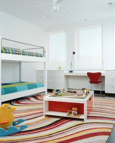 NY loft by Delson Sherman, children's bedroom with bunkbed and bright colors | Remodelista