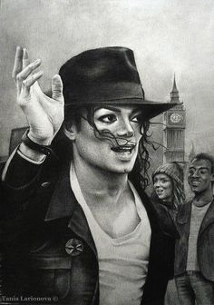 Pencil drawing by artist Tania Larionova of Michael Jackson with the London clock in the background.