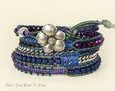 5X Bohemian Beaded Leather Wrap Bracelet, Titanium coated Hematite beads with steel chain macrame leather wrap bracelet