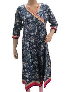 Amazon.com: Bohemian Dress, Blue Kurta Tunic Long Kurti Anarkali Style Dresses Womens Cotton Clothing Medium Size: Clothing