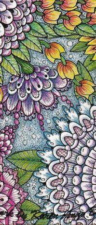 Springtime Flowers zentangle style by Karen Anne Brady