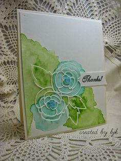 handmade thank you card created by bjk ... watercolor wash with white die cut rose outlines above ... beautiful ...