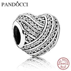 49aab2063 Fits Pandora Bracelets Love Lines Silver Beads with Clear CZ 100% 925  Sterling Silver Charms DIY Jewelry