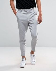 ASOS Tapered Cropped Trouser in Pale Grey