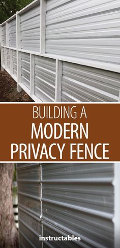 Build a modern privacy fence from corrugated roofing panels, and pressure treated posts. Wood Privacy Fence, Privacy Fence Designs, Gabion Fence, Privacy Panels, Diy Fence, Cedar Fence, Roof Panels, Fence Panels, Fencing