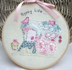 "Handmade 8"" Tilda Gypsy Caravan Embroidery Artwork made by me for I Love Pretty Things made using Tilda Fabrics"
