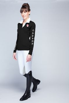Classic #Canadian Black long sleeve polo #ShopSM