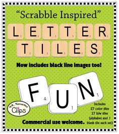 Scrabble inspired Letter Tiles! Now includes color and line art images! 54 png images in all. $ http://www.teacherspayteachers.com/Product/Scrabble-Inspired-Letter-Tiles-Clip-Art-Commercial-Use-OK-427639
