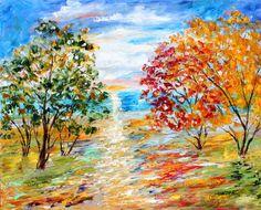 Original Landscape Ocean Painting Oil on Canvas by Karensfineart