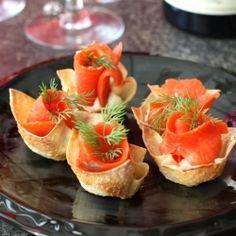 Smoked Salmon & Horseradish Mascarpone in Wonton Cups