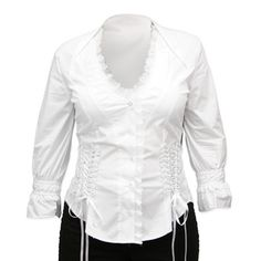 Victorian Ladies White Cotton Blend,Lace Solid No Collar Blouse | Dickens | Downton Abbey | Edwardian || Evangeline Blouse - White