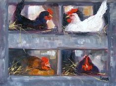 """Ain't Nobody Here But Us Chickens, 6x8 Oil on Canvas Board"" - Original Fine Art for Sale - © Carmen Beecher"