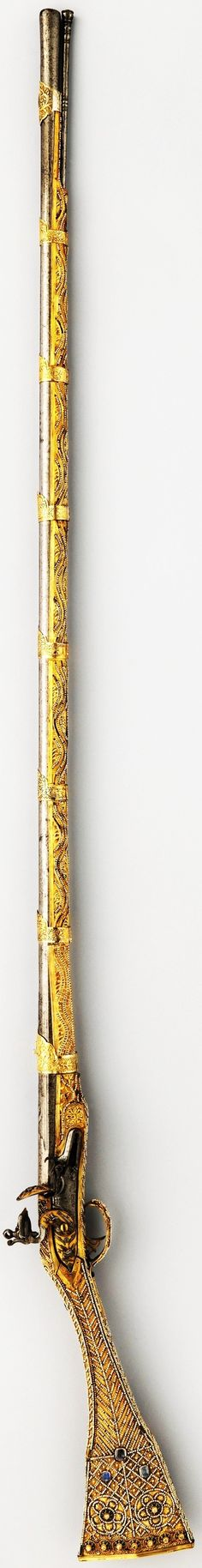 Ottoman (Albanian or Macedonianan) Ffintlock rifle, barrel possibly late 17th century; lock (French), mountings, and decorations early 19th century, steel, silver gilt; iron; pearl; diamond; sapphire, L. 62 7/8 in. (159.7 cm), Met Museum,  Bequest of George C. Stone, 1935.