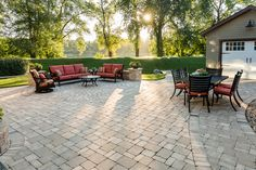 Create a monochromatic flow to your living space by combining different hardscapes in the same colour tone. Backyard Patio, Rome, Flow, Living Spaces, Landscaping, Colour, Create, Building, Outdoor Decor