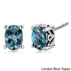 Oravo Sterling Silver Oval-cut Gemstone Earrings (London Blue Topaz), Women's, Size: Small