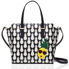 Kate Spade Cedar Street Pineapples Small Hayden ($166) ❤ liked on Polyvore featuring bags, handbags, shoulder bags, purse shoulder bag, long shoulder bags, kate spade handbag, white hand bags and long hand bags