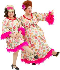 Rental Costumes for Hairspray - Tracy and Edna Turnblad in their Mr. Pinky's matching dresses