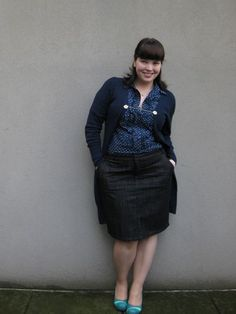 Plus size denim skirt with knee lenght cardigan (Frocks and Frou Frou - Lilli)