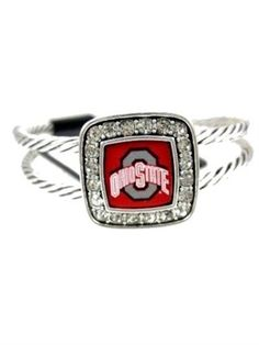 Officially Licensed Ohio State Buckeyes Crystal Studded Cable Cuff Bracelet
