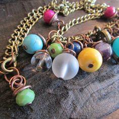 Gargantilla Cadena Cobre y Piedras. Se puede personalizar, cadena mas larga, color piedras, dijes...