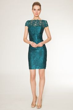 """""""Teal"""" me about it!!! This lace jacquard cocktail dress is a classy and sophisticated option for your evening events this upcoming fall. What accessories would you pair to make this outfit even more spectacular than it already is?"""