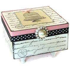 Jewelry Box Keepsake Box Pink And Black Paris Decor