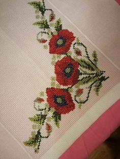 Embroidery Applique, Cross Stitch Embroidery, Cross Stitch Patterns, Simple Cross Stitch, Paper Crafts, Diy Crafts, Poppies, Beads, Flowers