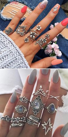 Shop NowFrom Vintage Rings Set Fashion Jewelry for Women Cute Jewelry, Boho Jewelry, Jewelry Crafts, Jewelry Rings, Silver Jewelry, Jewelry Accessories, Jewelry Design, Women Jewelry, Fashion Jewelry