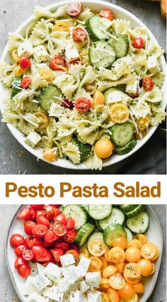 This easy Pesto Pasta Salad requires 6 simple ingredients and just a few minutes to prepare, made with pesto, tomatoes, mozzarella and any bite-size noodles. Pesto Pasta Salad, Pasta Salad Recipes, Healthy Salad Recipes, Tomato Salad, Recipes Using Pesto, Healthy Pesto, Spinach Salads, Tomato Mozzarella, Crab Salad