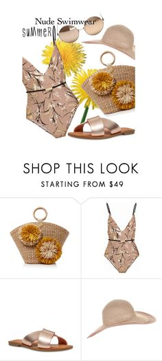 """nude swimwear"" by whyfashionblog on Polyvore featuring moda, Aranáz, Zimmermann, Nine West, Accessorize, Linda Farrow e nudeswimwear"
