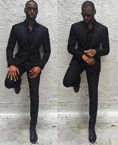Wedding Suit Latest Coat Pant Designs Black Formal Groomsman Wedding Suit For Men Custom Peaked Lapel Slim Fit Suits 3 Pieces Masculino C Guys All Black Outfit, All Black Suit Prom, Black Suit Wedding, Mens Fashion Suits, Mens Suits, Suit Men, Dapper Suits, Mens Attire, Terno Slim