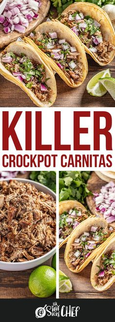 The best crockpot carnitas you'll ever have! Killer Crockpot Pork Carnitas are made in your slow cooker, so it couldn't be easier! This easy recipe is perfect for busy fall weeknight dinners. #crockpotcarnitas #carnitas #slowcooker Vegetarian Crockpot Recipes, Healthy Pork Recipes, Pork Recipes For Dinner, Slow Cooker Recipes, Fall Recipes, Mexican Food Recipes, Cooking Recipes, Ethnic Recipes, Slow Cooking