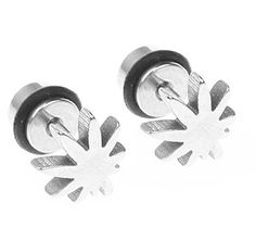 BodyJ4You® Fake Plugs Pot Leaf Gauges 316L Stainless Steel 16G Studs Earrings Illusion Jewelry